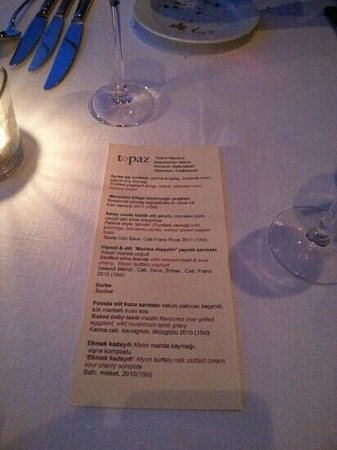 Topaz: Ottoman Degustation menu with wine pairings.... Lamb was the best course!