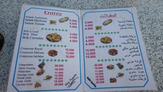 Sidi Bou Said : Les plats