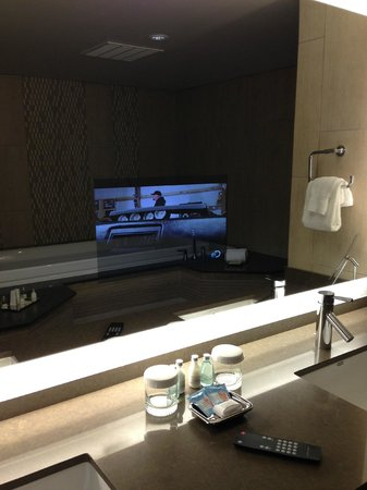 Ramada Plaza Springfield Hotel and Oasis Convention Center: master bathroom, with TV mirror
