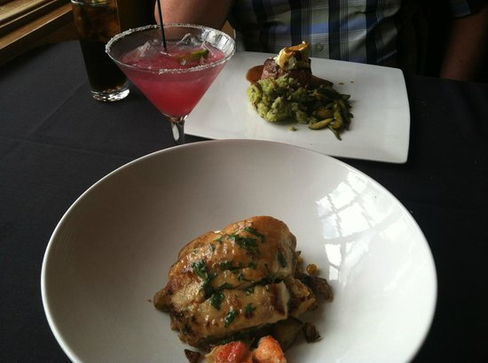Canyon Southwest Cafe: Sea Bass and Lobster & Filet with Poblano Goat Cheese and Prickly Pear Margarita