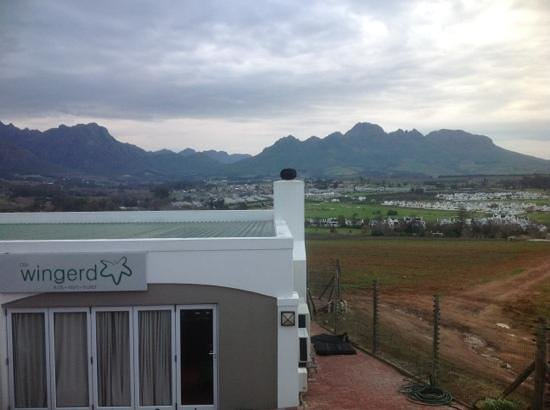 Protea Hotel Stellenbosch: view from breakfast room, over the restaurant and Stellenbosch.