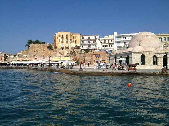The Mistral: View of Chania harbour from yacht trip