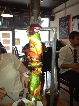 huge chicken skewer!