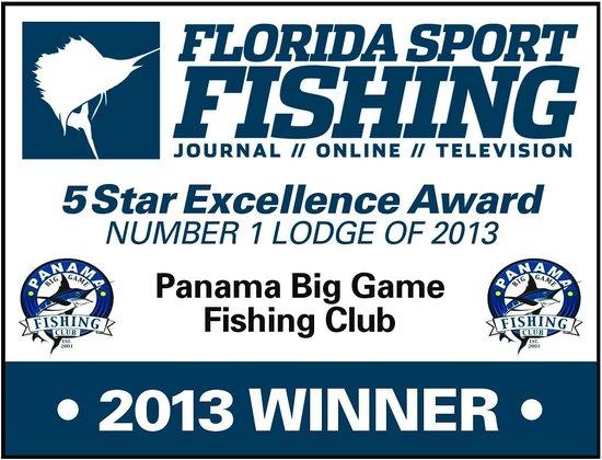 "Panama Big Game Fishing Club: Award for ""No 1 Lodge for 2013"" from Florida Sport Fishing Magazine"