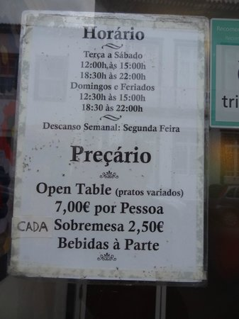 Restaurante A Arvore : Hours of operation with price