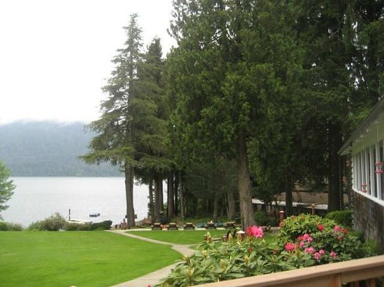 Lake Quinault Lodge: View of Lake Quinault from lodge deck