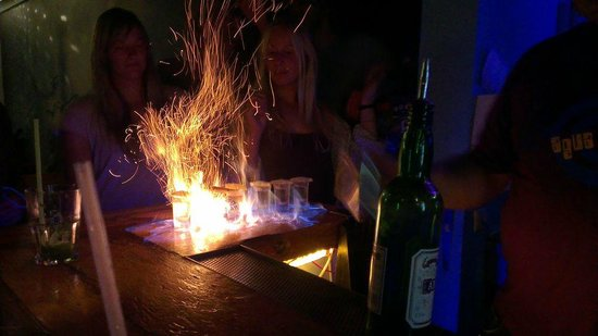 Agua Salgada : Absinthe on fire shots!