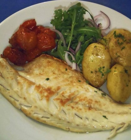 West Shore Beach Cafe: Wild Sea Bass with Roast Balsamic Cherry Tomatoes, Crushed New Potatoes and a Rocket Salad