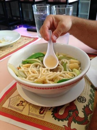 Pink Chopstix: bowl of chicken noodle soup