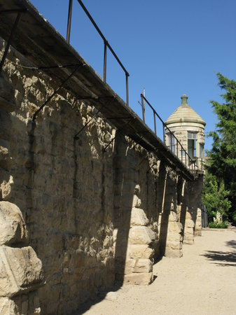 Idaho Botanical Garden: Wall and tower of Old Penitentiary - you can walk right up to it from the botanical garden