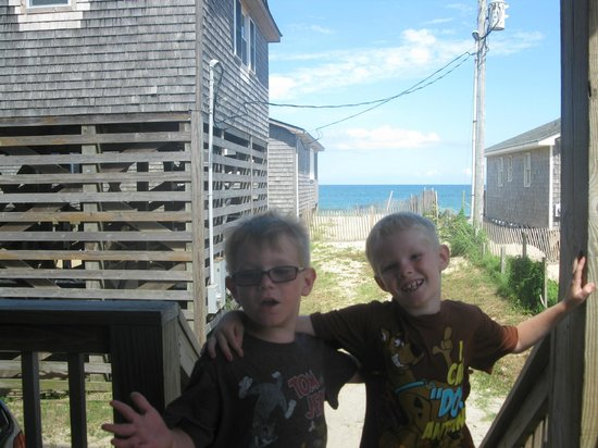 Outer Banks Motel: My boys on the deck of room 3A