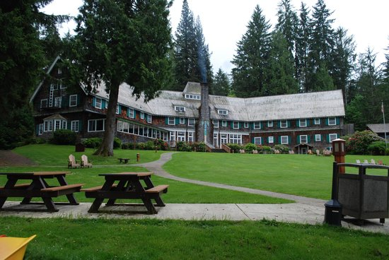 Lake Quinault Lodge: View of lodge from the lake.