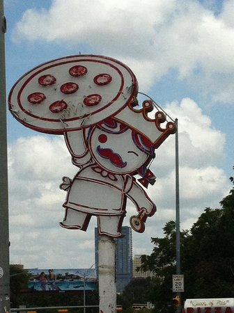 Home Slice Pizza: Outdoor signage.