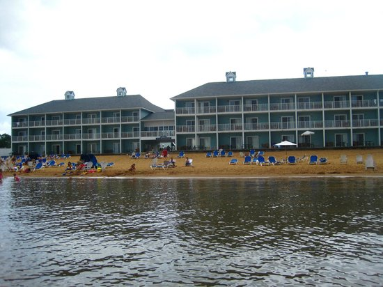 Sugar Beach Resort Hotel: A view of the beach and hotel from the bay.
