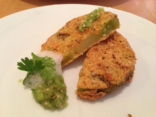 Fishtail, MT: Fried Green Tomatoes with Jalapeno Salsa and Foam