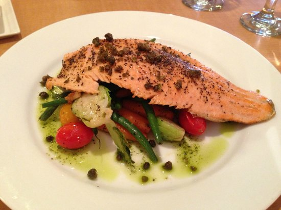 Fishtail, MT: Idaho Trout with glazed vegetables and fried capers