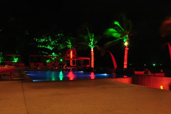 After dark at Beach Republic with pool & ocean beyond
