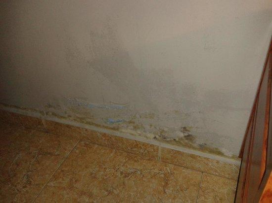 Hotel Escala Luna: humedad en la habitacion en la pared
