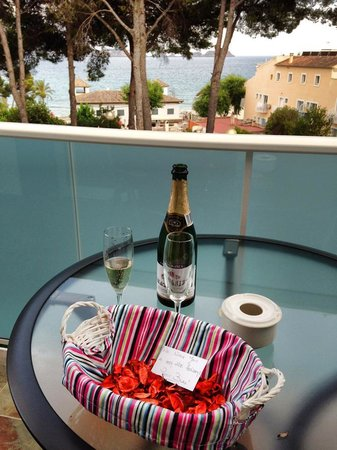Apartamentos Petit Blau: Petit Blau Apartments, balcony and view from 108 with bottle on arrival.