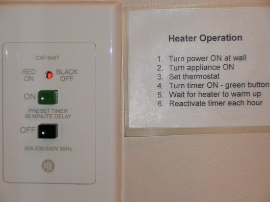 Queenstown TOP 10 Holiday Park: Heater instructions. And when do we sleep?
