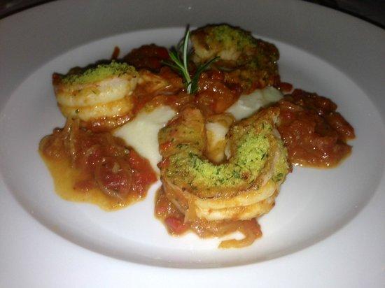 Hotel Cipriani Restaurant: Shrimp alla Busara with creamy white grain polenta.
