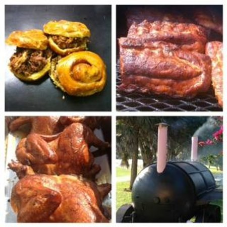 Yummies: BBQ Saturday's 11 AM to 4 PM : Sticky Pig Pulled Pork Sandwich on Donut, Ribs & Chicken