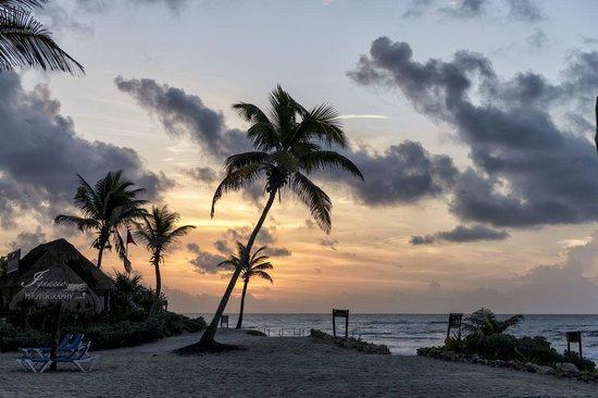 Grand Bahia Principe Tulum: Salida a la playa desde el hotel (amanecer)