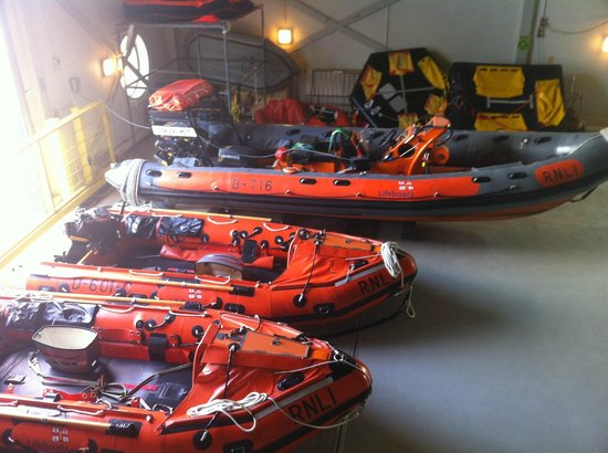 RNLI College Discovery Tour: Lifeboats by the training pool.