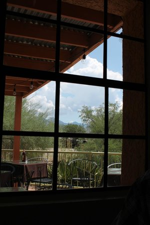 Shelby's Bistro: View of patio and arroyo from dining room
