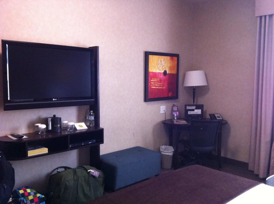 Acclaim Hotel Calgary Airport: TV and DVD player (excuse the bags)