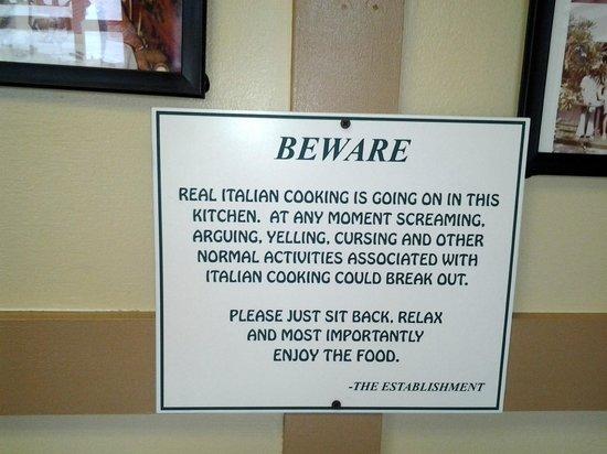 It's Italian!: Restaurant's warning !