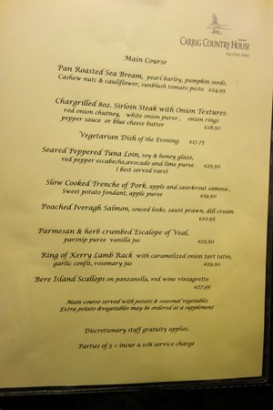 Carrig Country House & Restaurant: Menu detail - June