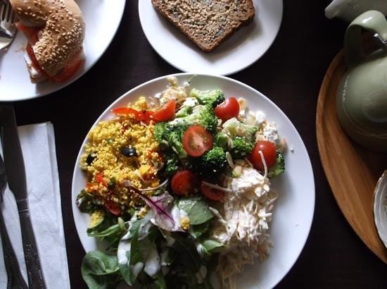 Cafe Mocha: Choice of 3 salads and bread E9.95.