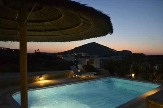 Naxian Collection: Private freshwater pool with great sunset views over mountain