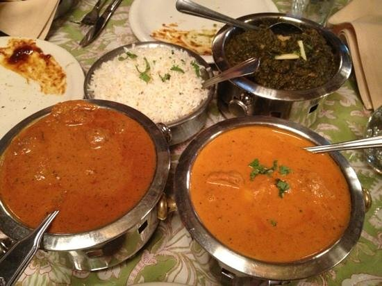 Jewel of the Crown, Cuisine of India: the bottom right orange colored dish was my delicious chicken masala.