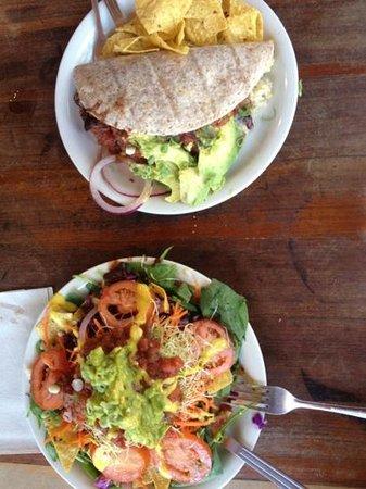 Sprouts: breakfast burrito & Mexican volcano
