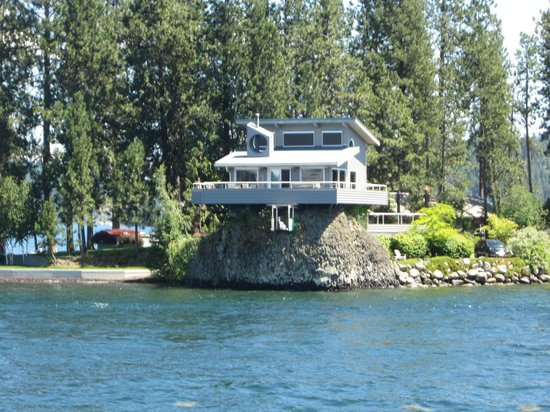 Coeur d'Alene, ID: House on the lake built on rocks.