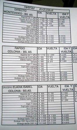 Montevideo, Uruguay: Tabela de preço do Buquebus- Montevideu