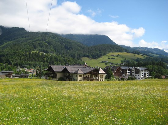 Hotel Der Krallerhof: View from pasture above hotel