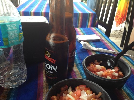 Tulum Bazaar: The cold local Leon beer.  I am not a beer drinker but it was so cold and tasty.