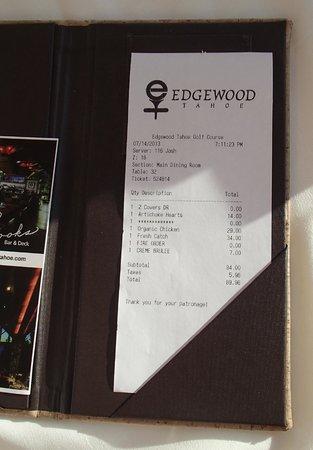Brooks' Bar & Deck at Edgewood Tahoe: Bill