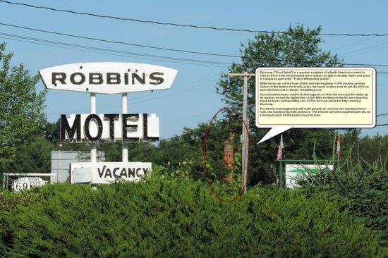 "Robbins Motel: POI across the street - ""Glooscap"" or ""Wandering Spirit"""