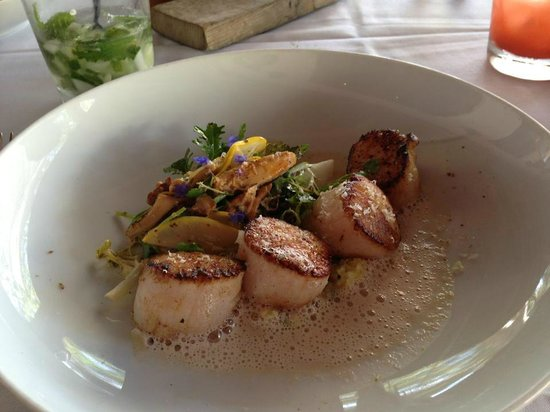 The Restaurant at Wente Vineyards : Roasted scallops with corn, chanterelles, squash and walnut.