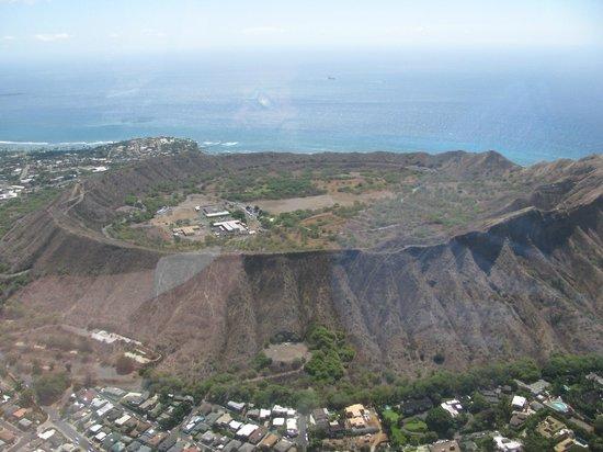Blue Hawaiian Helicopter Tours Maui Oahu Inside Diamond Head From