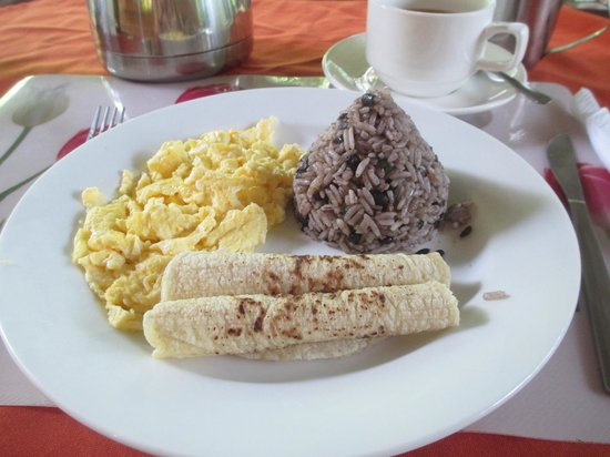 Arenal Oasis Eco Lodge & Wildlife Refuge: The main course of one of my breakfasts. Note the Gallo Pinto in the shape of Arenal!