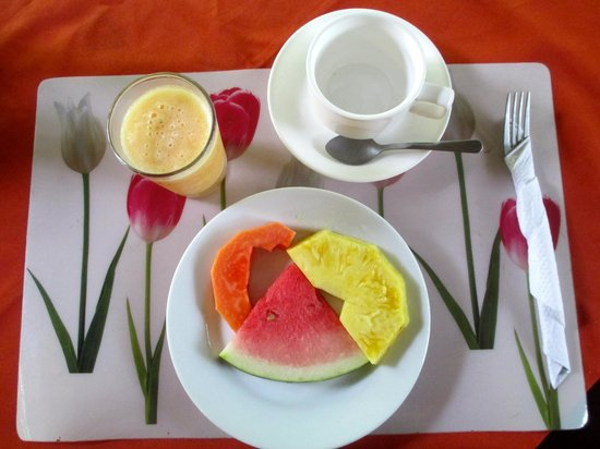Arenal Oasis Eco Lodge & Wildlife Refuge: The fresh fruit plate and fresh squeezed juice I was served each morning