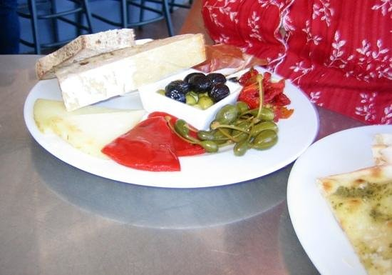 Baravin: Anti pasta and parmesan flat bread....