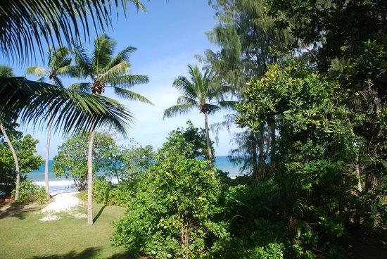 Constance Lemuria: View of Anse Kerlan from balcony