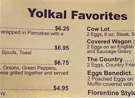 Broken Yolk: Menu