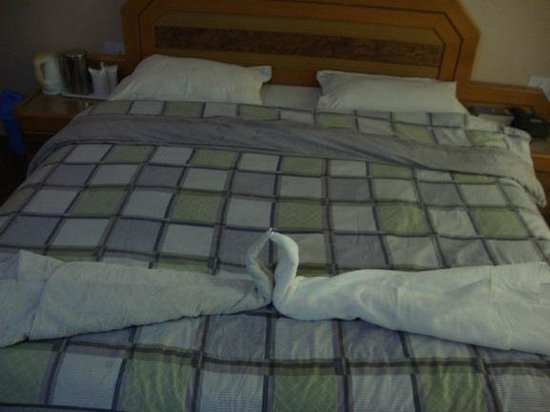 Hotel Ibni Kabeer : Bedroom.(Notice the difference in color of towels)